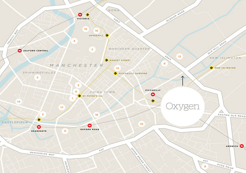 Oxygen Manchester Location Map